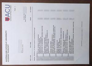 Australian Catholic University academic transcript
