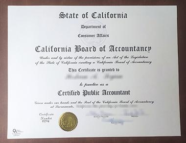 Buy California Board of Accountancy certificate. 购买加州会计委员会证书