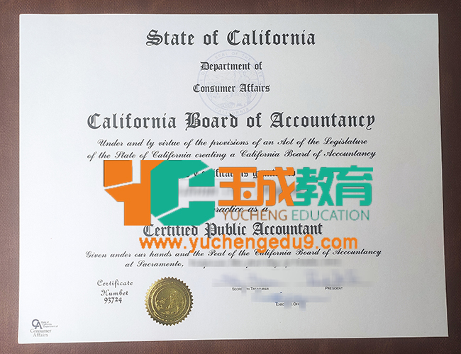 California Board of Accountancy certificate