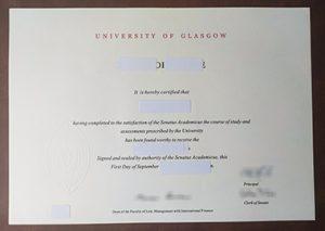University of Glasgow certificate