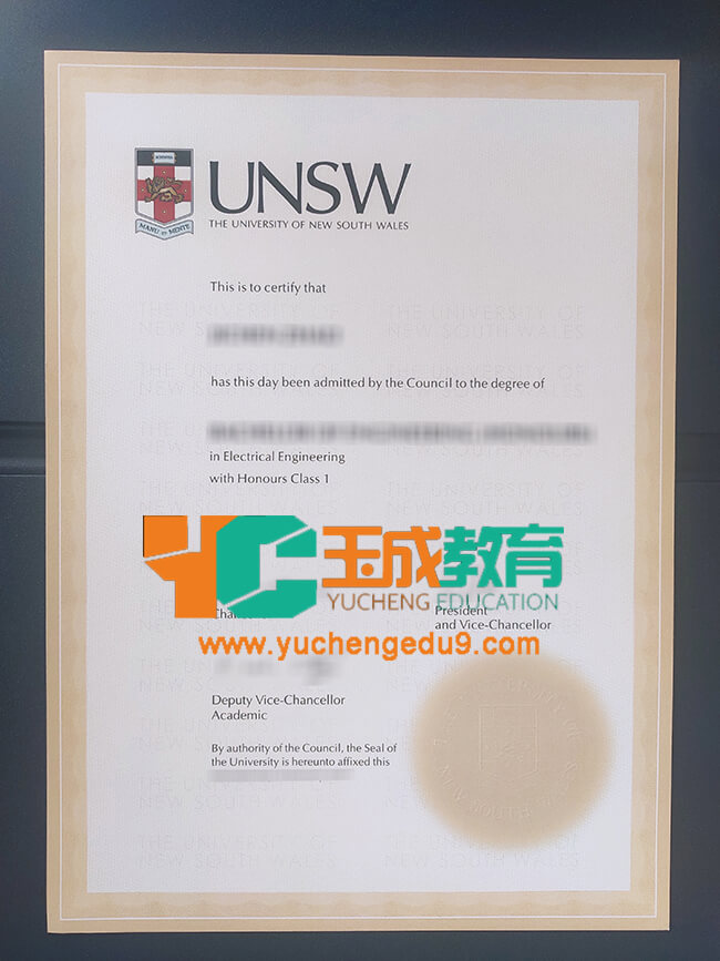 University of New South Wales certificate