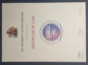 University of Westminster certificate