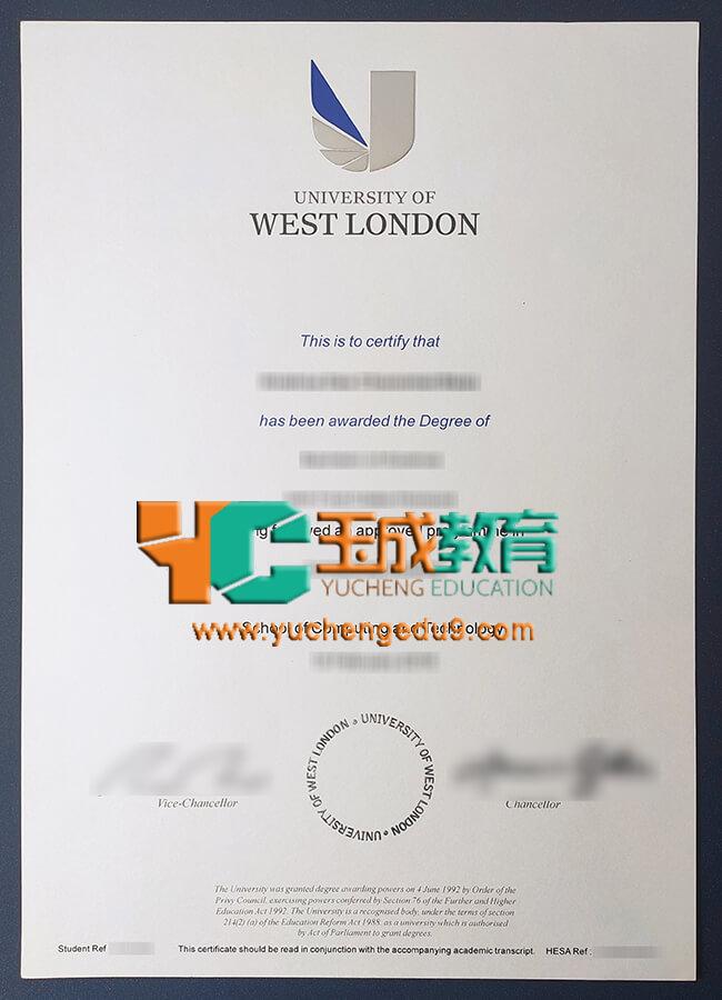 University of West London certificate 西伦敦大学UWL证书