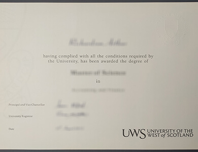 Buy a fake University of the West of Scotland degree in UK. 快速获得西苏格兰大学学位证书