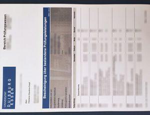 University of Duisburg-Essen transcript 杜伊斯堡-埃森大学成绩单