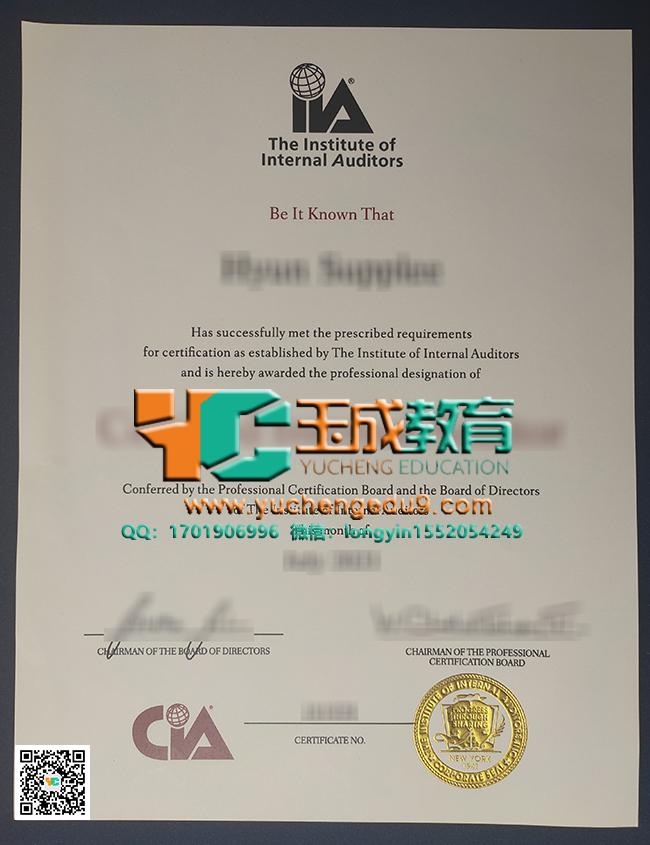 Institute of Internal Auditors certificate 内部审计师协会证书