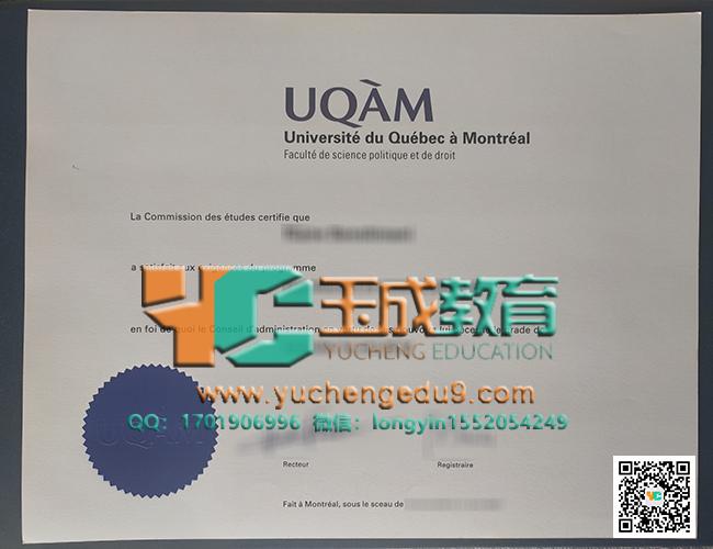 Université du Québec à Montréal certificate 魁北克大学蒙特利尔分校证书