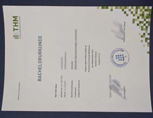中央黑森应用科学大学证书 Technische Hochschule Mittelhessen certificate (THM)
