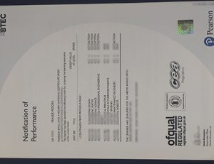 Business and Technology Education Council (BTEC) Level 4 transcript 商业和技术教育委员会BTEC Level 4 成绩单