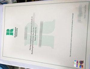 罗汉普顿大学证书 University of Roehampton certificate