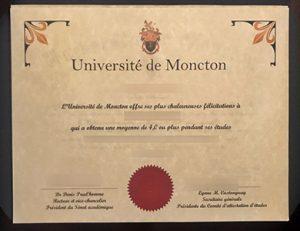 Université de Moncton degree 蒙克顿大学毕业证
